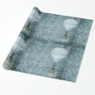 Dusk Blue Hot Air Balloon Steampunk Handwriting Wrapping Paper