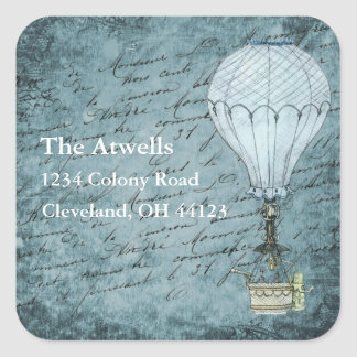 Dusk Blue Hot Air Balloon Steampunk Return Address Square Sticker