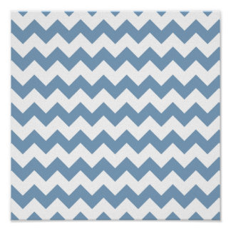 Dusk Blue White Chevron Pattern Poster