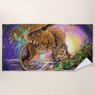 Dusk Hunter Flying Cat Beach Towel