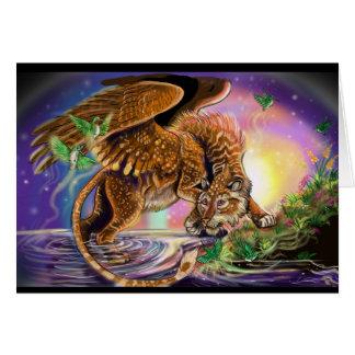 Dusk Hunter Flying Cat Card