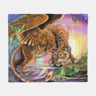 Dusk Hunter Flying Cat Fleece Blanket