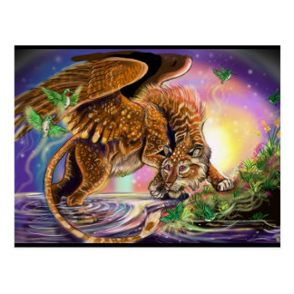 Dusk Hunter Flying Cat Postcard