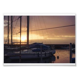Dusk in harbor photo print