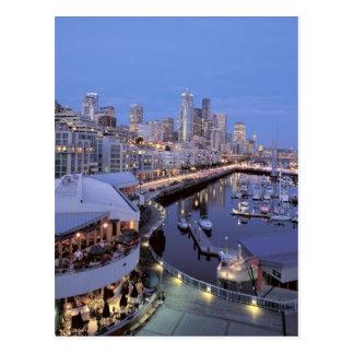 Dusk on Bell Harbor in Seattle Washington Postcard