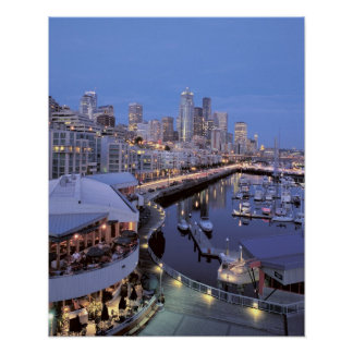 Dusk on Bell Harbor in Seattle, Washington. Poster