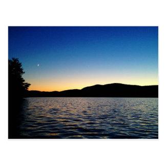 Dusk on Blue Mountain Lake, NY Postcard