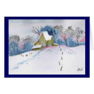 Dusk On Winter Homestead Card