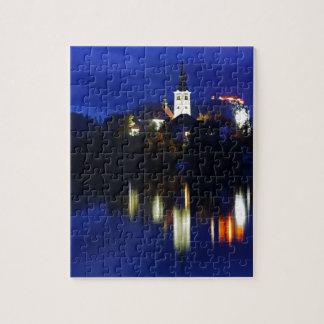 Dusk over Lake Bled Jigsaw Puzzle