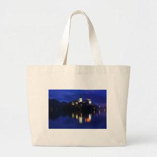 Dusk over Lake Bled Large Tote Bag
