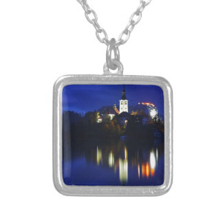 Dusk over Lake Bled Silver Plated Necklace