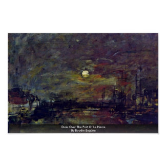 Dusk Over The Port Of Le Havre By Boudin Eugène Posters