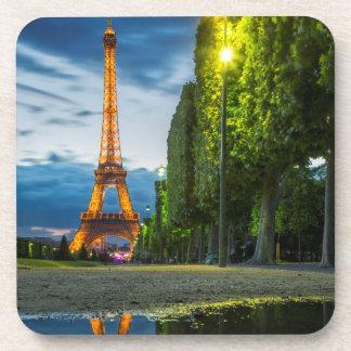 Dusk reflections below the Eiffel Tower Beverage Coaster
