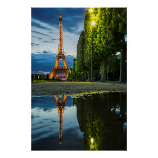 Dusk reflections below the Eiffel Tower Poster