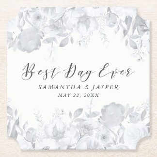 Dusk Watercolor Floral Wedding Party Paper Coaster