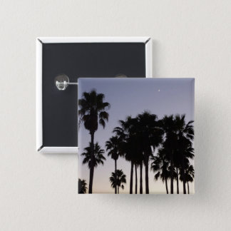 Dusk with Palm Trees Tropical Scene 2 Inch Square Button