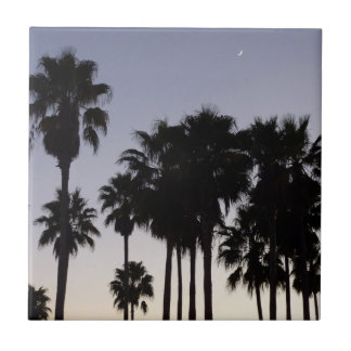 Dusk with Palm Trees Tropical Scene Tile