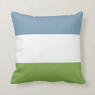 Dusky Blue and Spring Green Throw Pillow