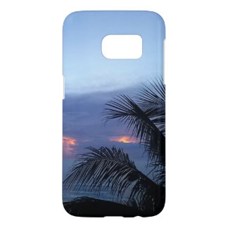 Dusky Blue Sunrise with Palm Tree Samsung Galaxy S7 Case
