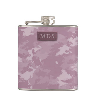 Dusky Pink Camo Flask with faux 3D Monogram