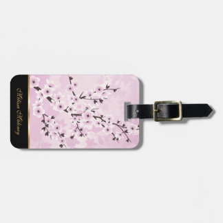 Dusky Pink Cherry Blossom Asia Floral Personalize Bag Tags