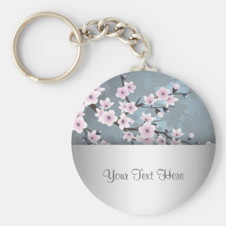 Dusky Pink Grayish Blue Cherry Blossoms Floral Keychain