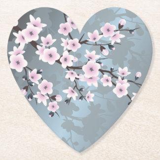 Dusky Pink Grayish Blue Cherry Blossoms Floral Paper Coaster