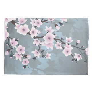 Dusky Pink  Grayish Blue  Cherry Blossoms Floral Pillowcase