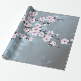 Dusky Pink Grayish Blue Cherry Blossoms Floral Wrapping Paper