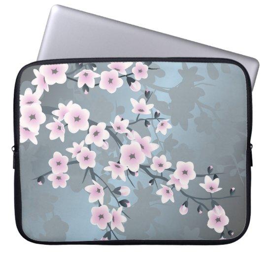 Dusky Pink Grayish Blue Cherry Blossoms Laptop Sleeve