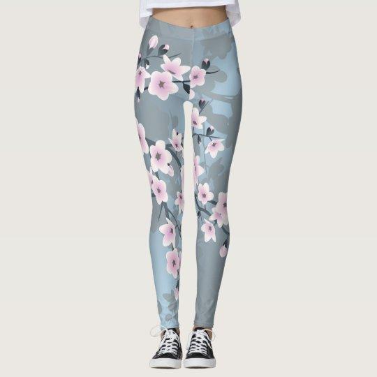 Dusky Pink Grayish Blue Cherry Blossoms Leggings