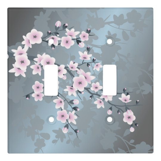 Dusky Pink Grayish Blue Cherry Blossoms Light Switch Cover