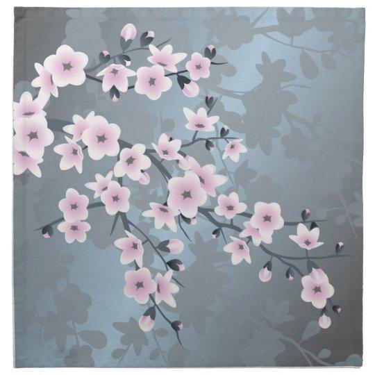 Dusky Pink Grayish Blue Cherry Blossoms Napkin