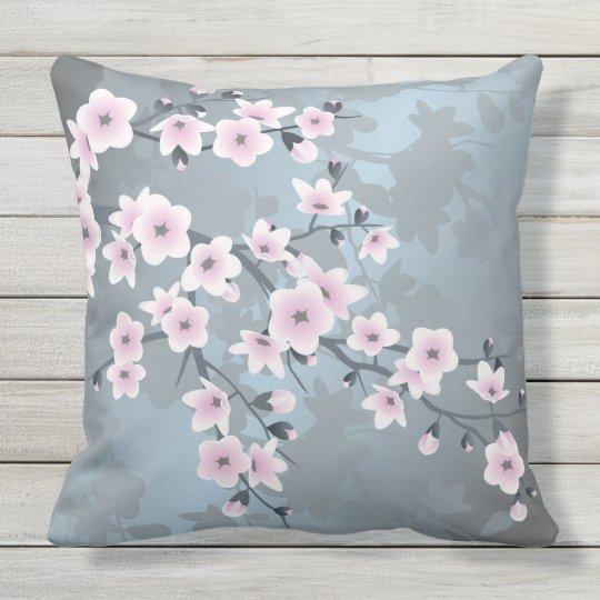 Dusky Pink Grayish Blue Cherry Blossoms Throw Pillow