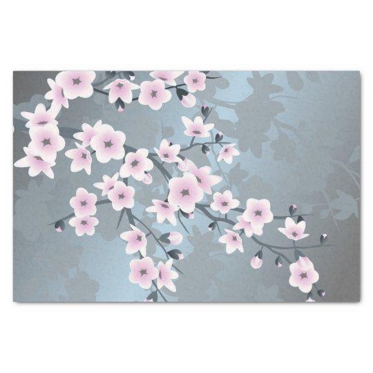 Dusky Pink Grayish Blue Cherry Blossoms Tissue Paper