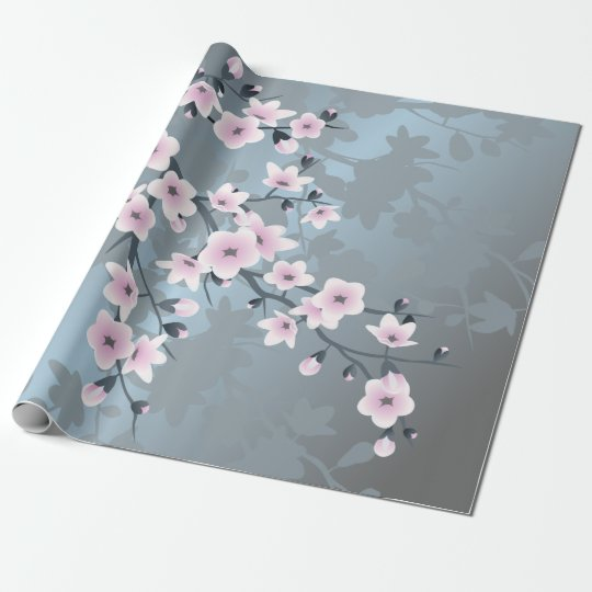 Dusky Pink Grayish Blue Cherry Blossoms Wrapping Paper