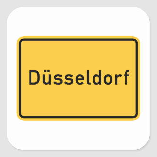 Dusseldorf, Germany Road Sign Square Sticker