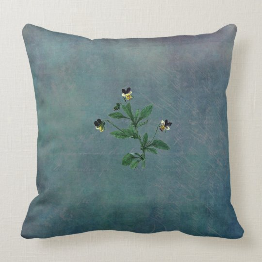 Dusted Turquoise and Wild Violas Throw Pillow