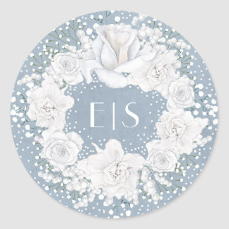 Dusty Blue and Baby's Breath Wedding Classic Round Sticker