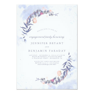 Dusty Blue and Blush Floral Engagement Party Card