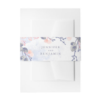 Dusty Blue and Blush Floral Watercolors Wedding Invitation Belly Band