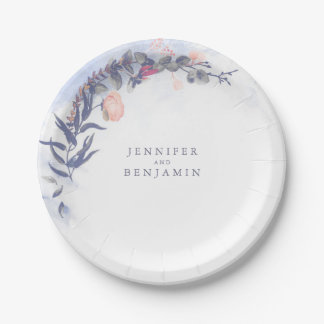 Dusty Blue and Blush Floral Wedding Paper Plate