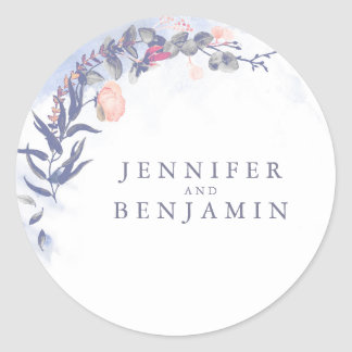 Dusty Blue and Blush Watercolor Flowers Wedding Classic Round Sticker
