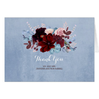 Dusty Blue and Burgundy Floral Thank You Card