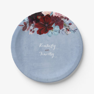 Dusty Blue and Burgundy Floral Watercolor Paper Plate