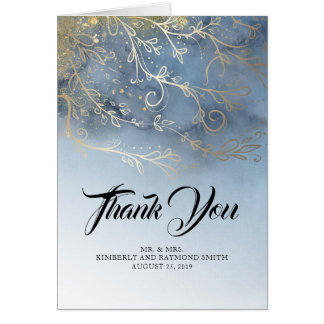 Dusty Blue and Gold Thank You Card