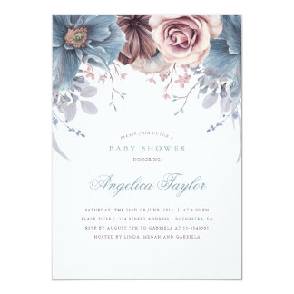 Dusty Blue and Mauve Floral Baby Shower Card