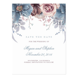 Dusty Blue and Mauve Floral Save the Date Postcard