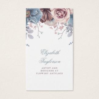 Dusty Blue and Mauve Watercolor Floral Vintage Business Card
