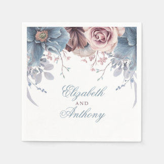 Dusty Blue and Mauve Watercolor Flowers Disposable Napkin